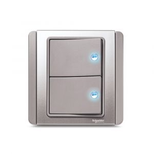10A 2 Gang 1 Way horizontal Switch with Blue LED - Grey