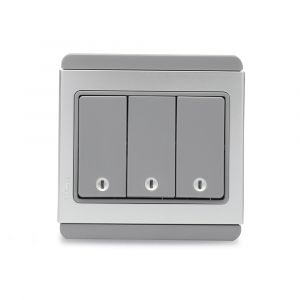 10A 3 Gang 1 Way horizontal Switch with Blue LED - Grey