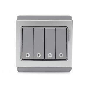 10A 4 Gang 1 Way horizontal Switch with Blue LED - Grey