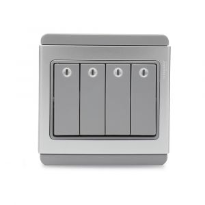 10A 4 Gang 2 Way horizontal Switch with Blue LED - Grey