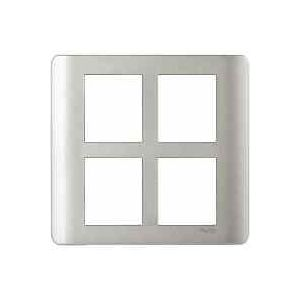 ZENcelo India - 8 Module Grid and Cover frame - Square - Satin Silver