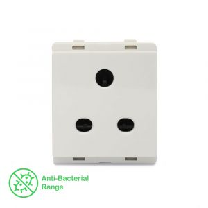 10A 2/3 Pin Socket with Shutter - White