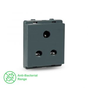10A 2/3 Pin Socket with Shutter - Pebble Grey