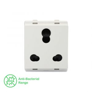 10A/16A 3 Pin Socket with Shutter - White