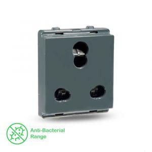 10A/16A 3 Pin socket with shutter - Dark Grey
