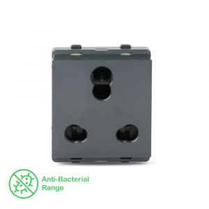 10A/25A 3 Pin Socket with Shutter - Pebble Grey
