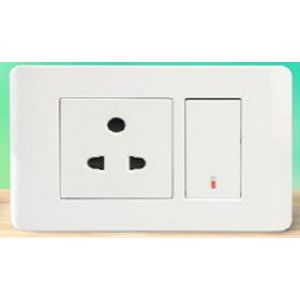 ZENcelo India - 20A 2 Module Double Pole Full Flat Switch with Neon -White